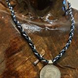 ArgintIon - Colier barbatesc, argint pe șnur triplu din piele